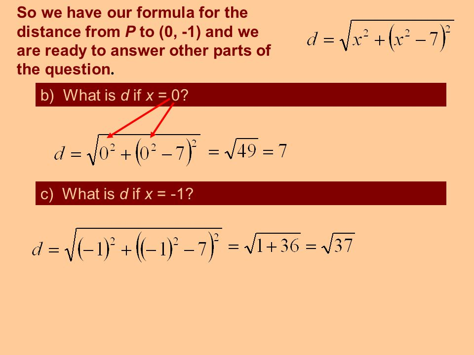 So we have our formula for the distance from P to (0, -1) and we are ready to answer other parts of the question.