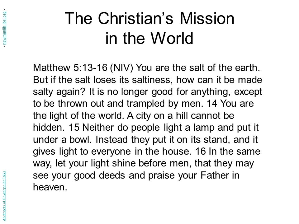 The Christian's Mission in the World