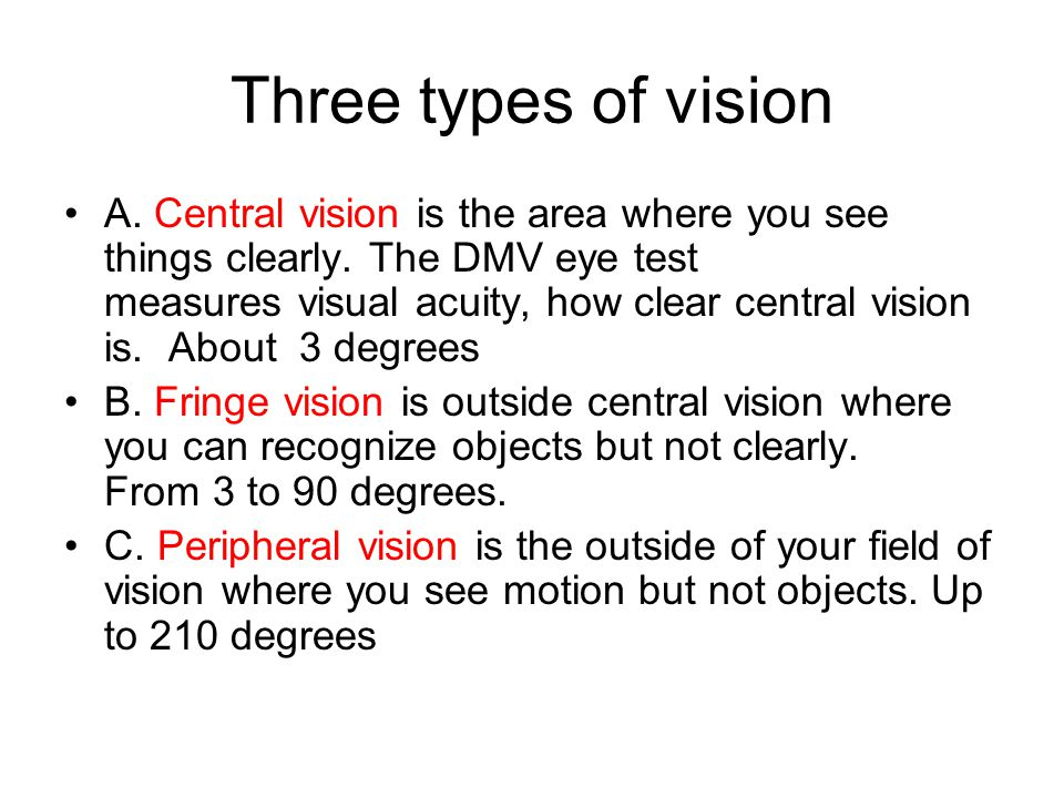 Three types of vision