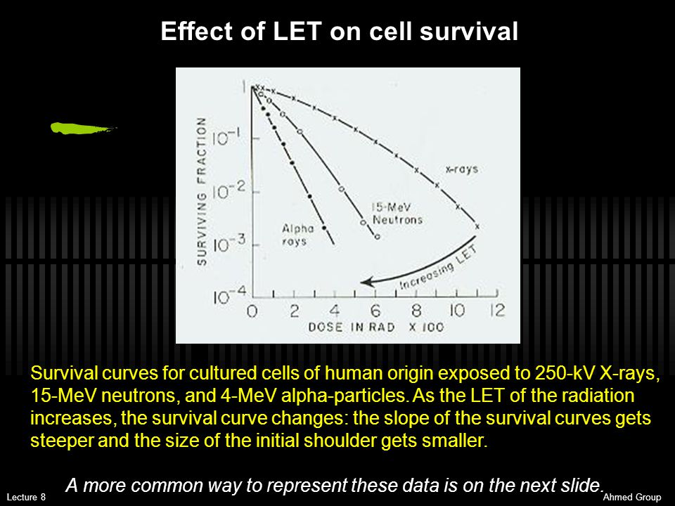 Effect of LET on cell survival