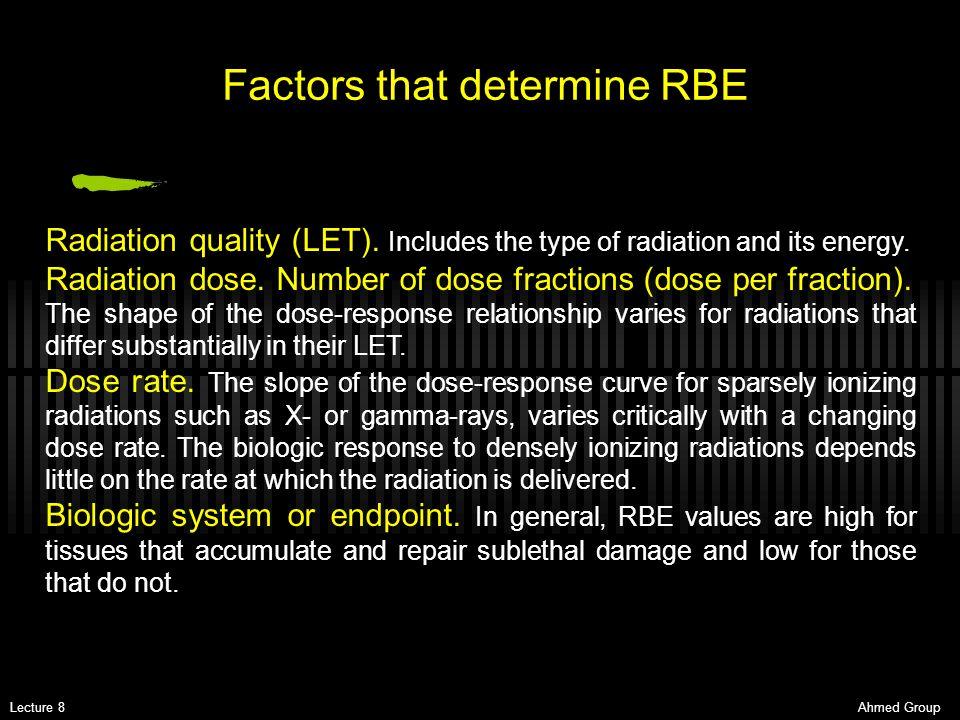 Factors that determine RBE