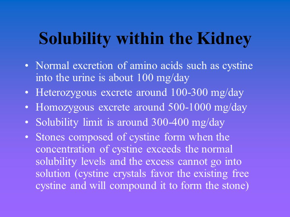 Solubility within the Kidney