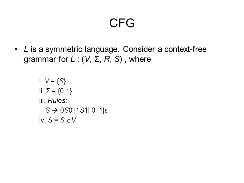CFG L is a symmetric language. Consider a context-free grammar for L : (V, Σ, R, S) , where. i. V = {S}