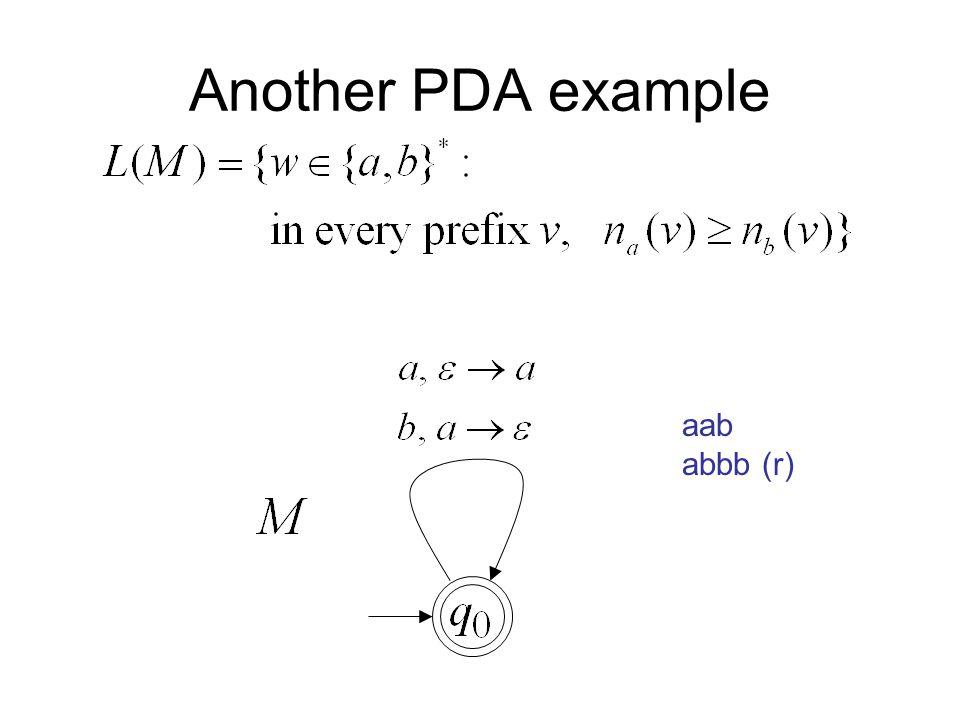 Another PDA example aab abbb (r)
