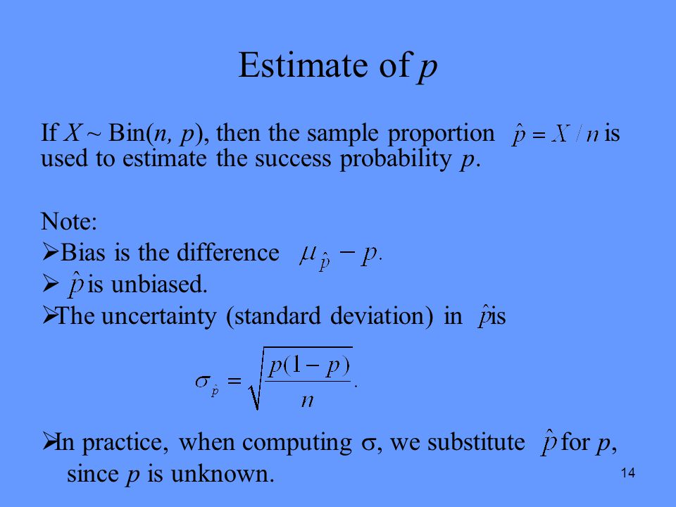 Estimate of p If X ~ Bin(n, p), then the sample proportion is used to estimate the success probability p.