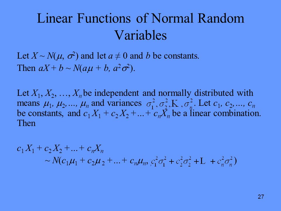 Linear Functions of Normal Random Variables