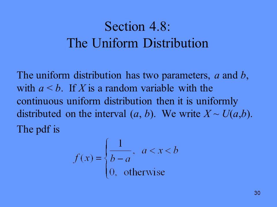 Section 4.8: The Uniform Distribution