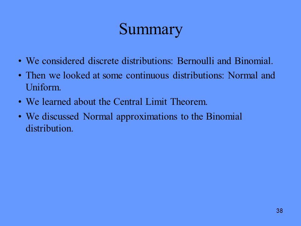 Summary We considered discrete distributions: Bernoulli and Binomial.