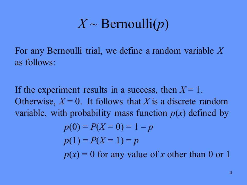 X ~ Bernoulli(p) For any Bernoulli trial, we define a random variable X as follows: