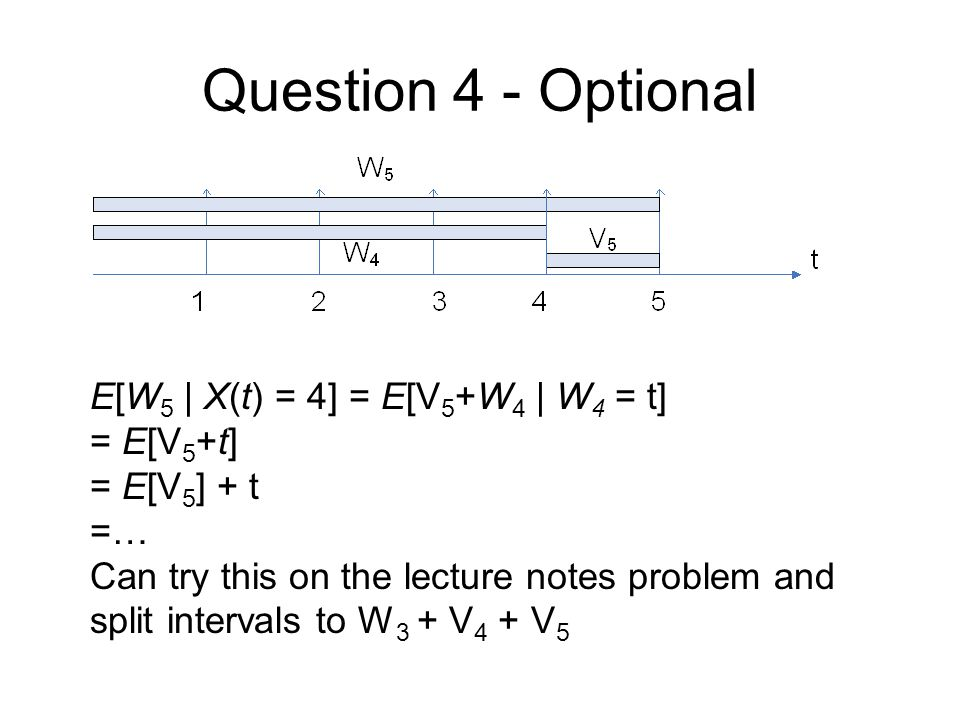 Question 4 - Optional E[W5 | X(t) = 4] = E[V5+W4 | W4 = t] = E[V5+t]
