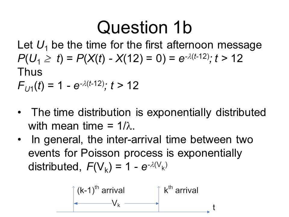 Question 1b Let U1 be the time for the first afternoon message