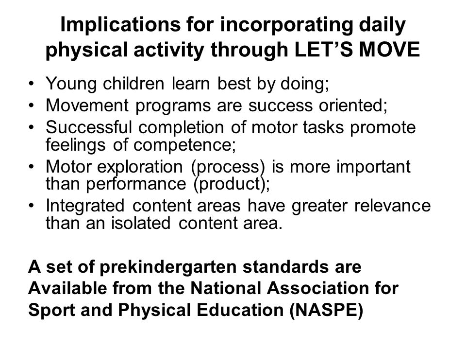 Implications for incorporating daily physical activity through LET'S MOVE