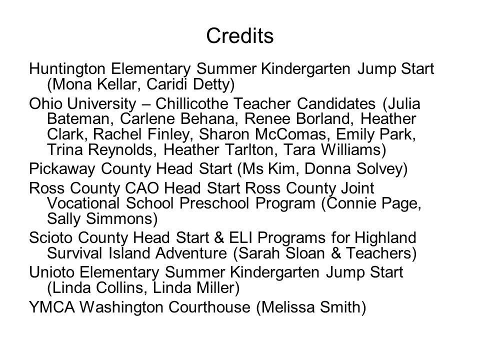 Credits Huntington Elementary Summer Kindergarten Jump Start (Mona Kellar, Caridi Detty)