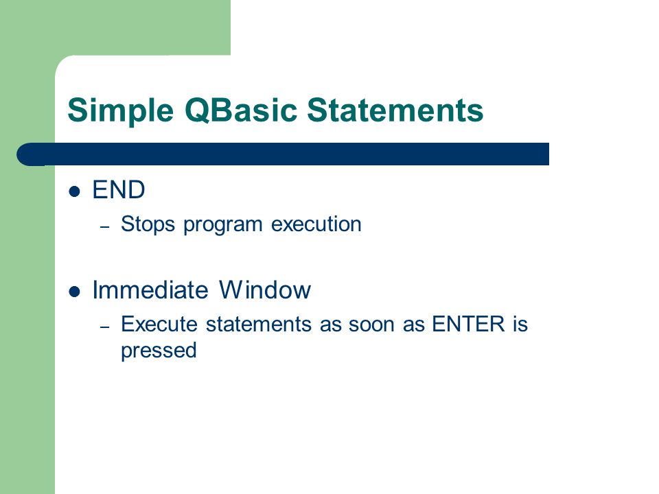 Simple QBasic Statements