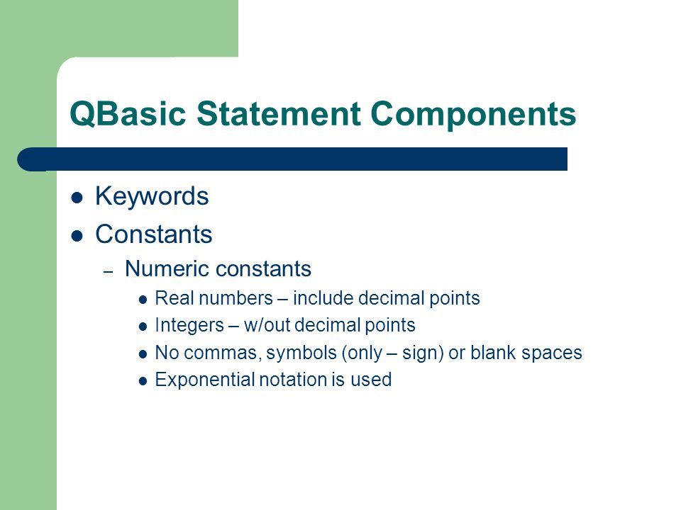 QBasic Statement Components