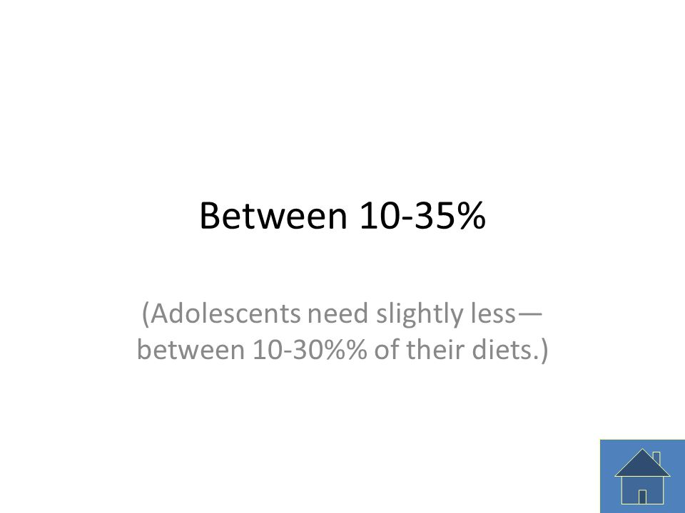 (Adolescents need slightly less—between 10-30%% of their diets.)