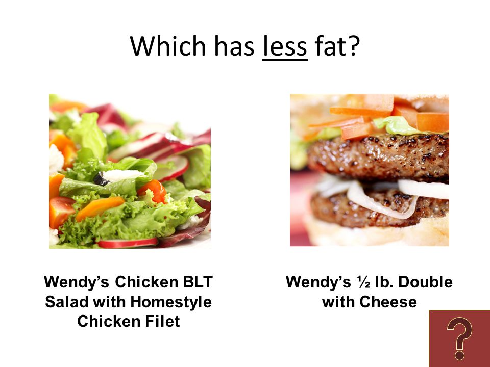 Which has less fat. Wendy's Chicken BLT Salad with Homestyle Chicken Filet.