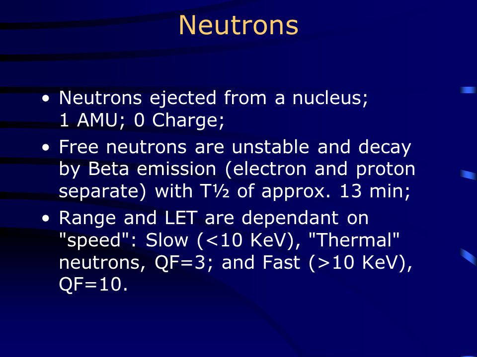 Neutrons Neutrons ejected from a nucleus; 1 AMU; 0 Charge;