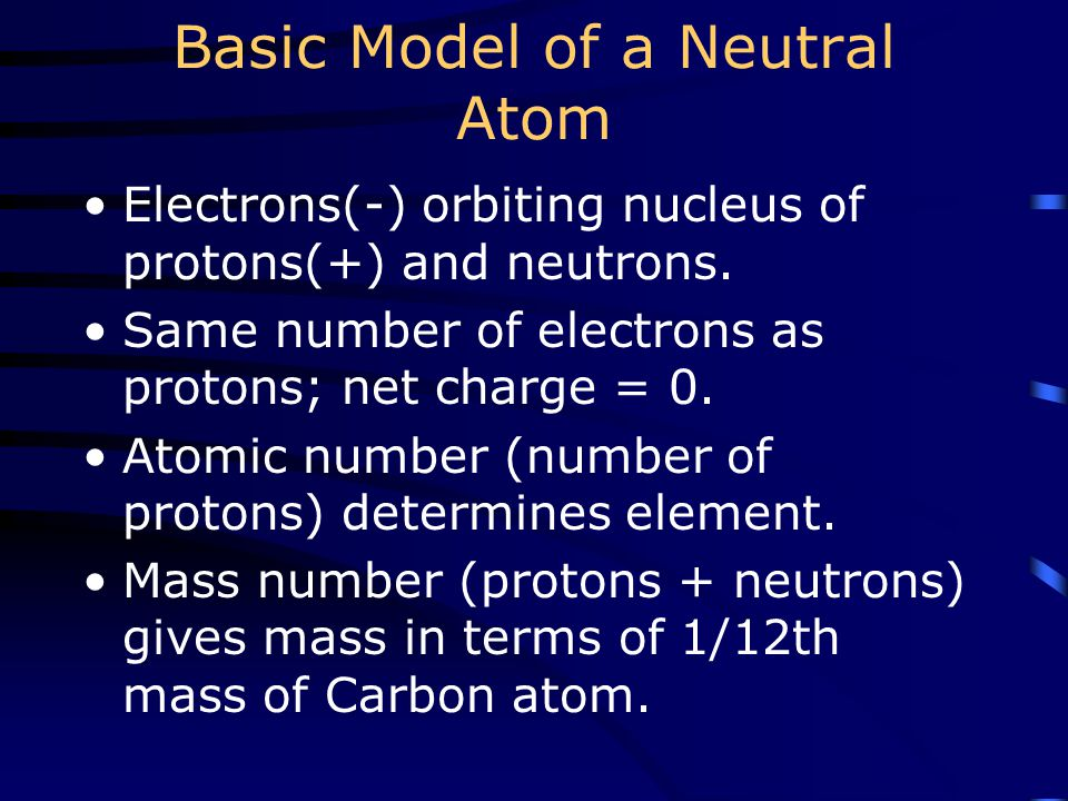 Basic Model of a Neutral Atom