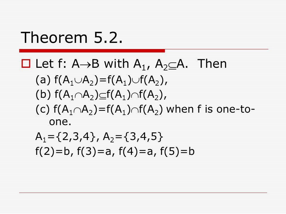Theorem 5.2. Let f: AB with A1, A2A. Then (a) f(A1A2)=f(A1)f(A2),