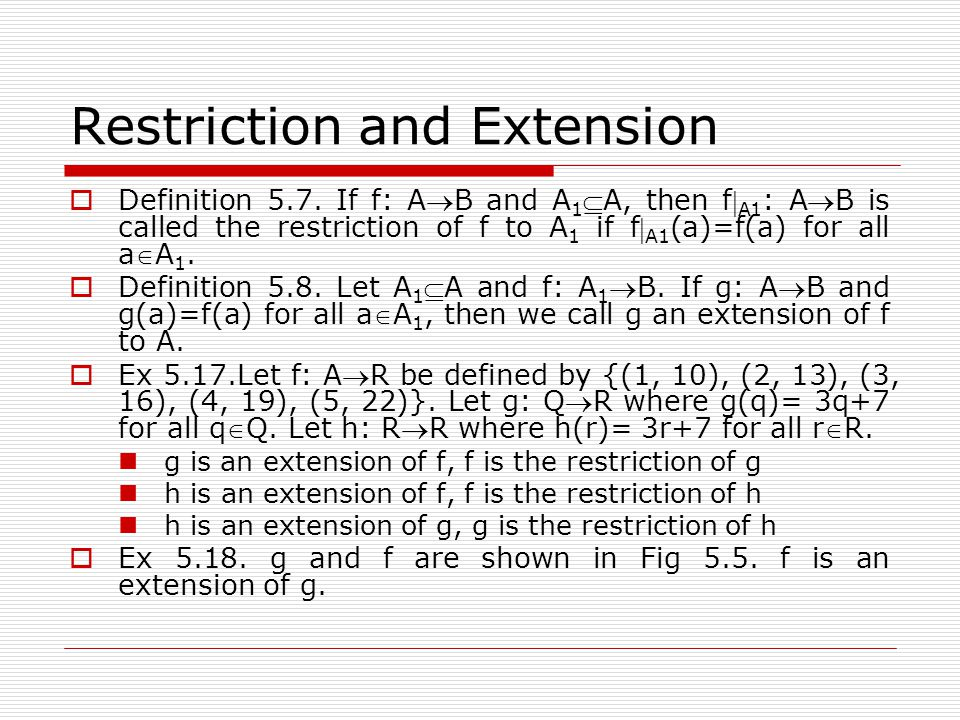 Restriction and Extension