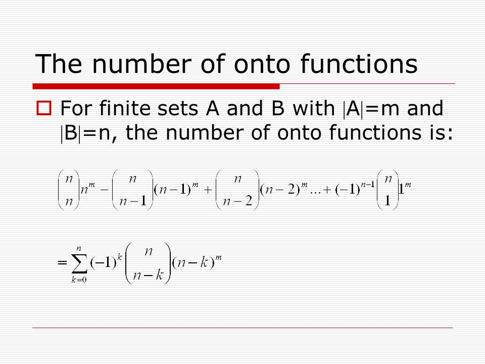 The number of onto functions