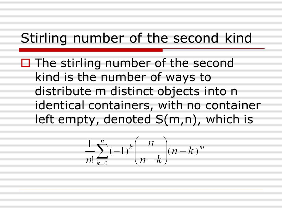 Stirling number of the second kind