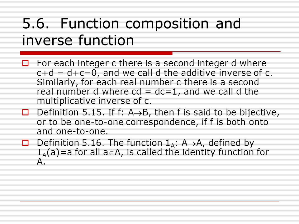 5.6. Function composition and inverse function