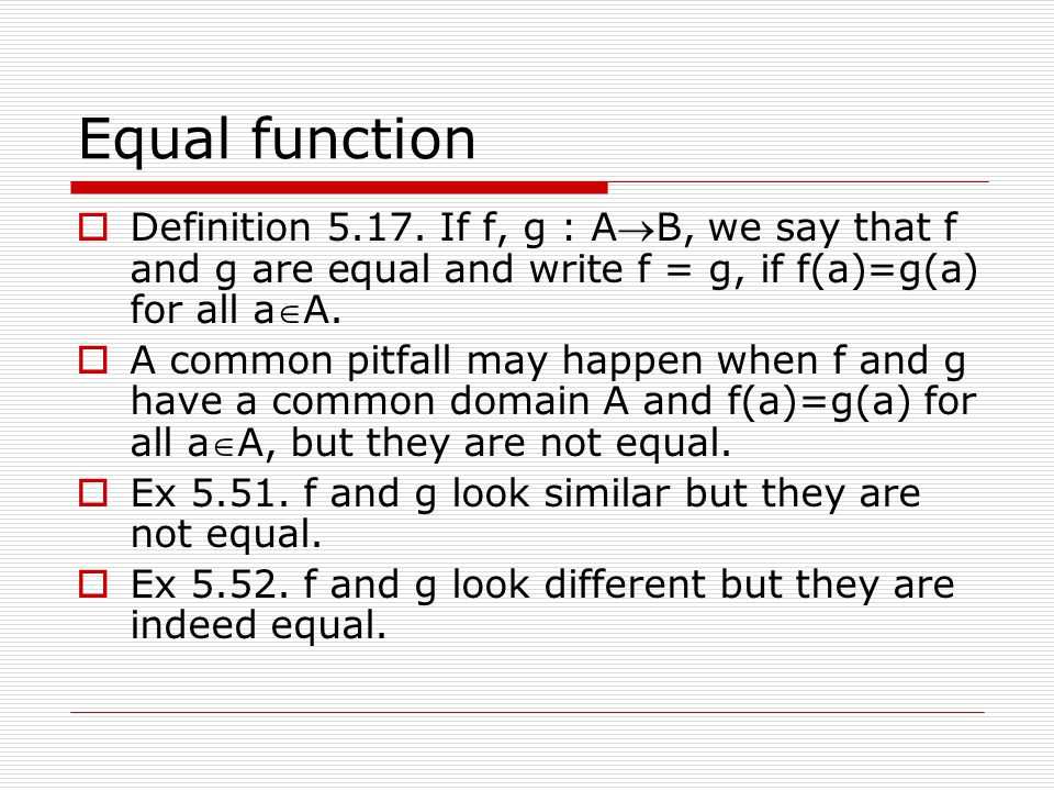 how to write a equal function