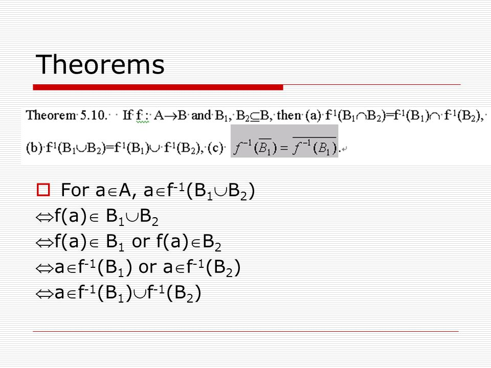 Theorems For aA, af-1(B1B2) f(a) B1B2 f(a) B1 or f(a)B2