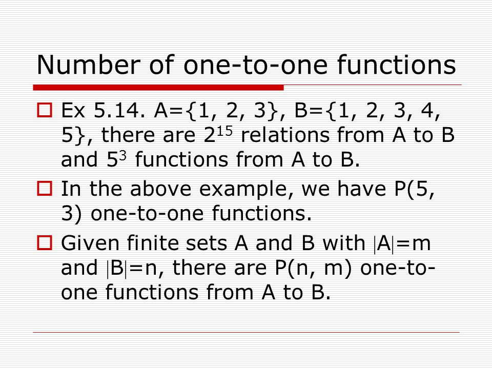 Number of one-to-one functions