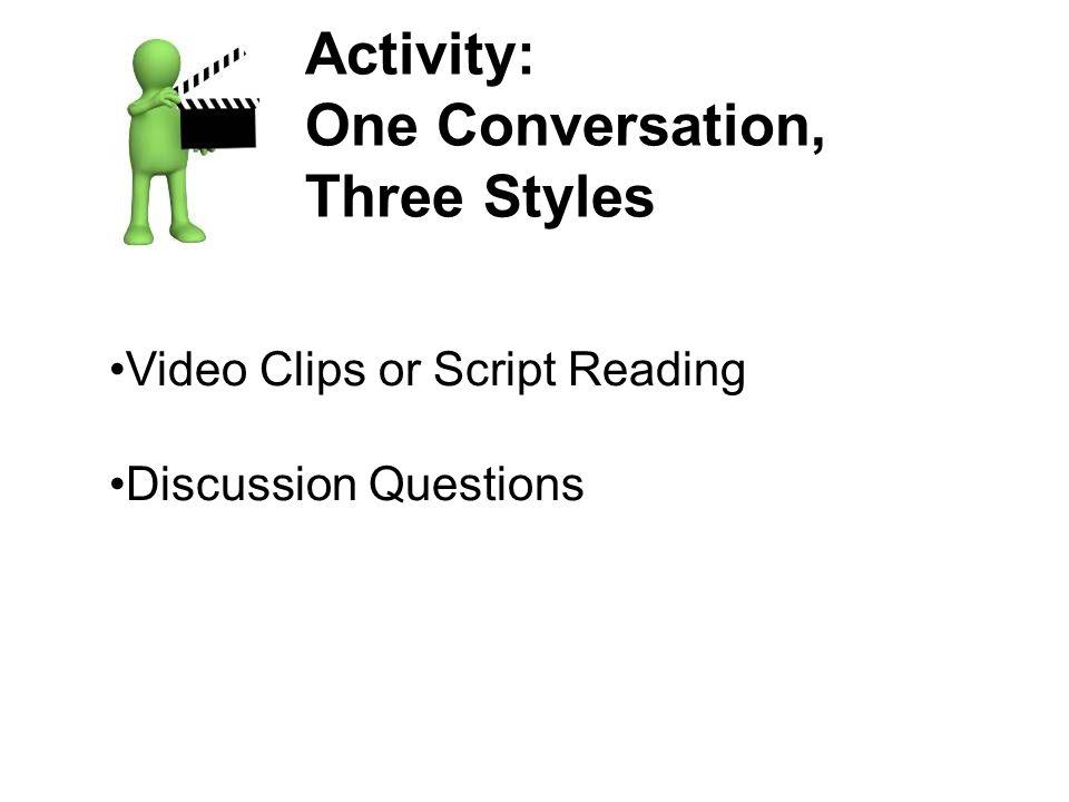 Activity: One Conversation, Three Styles