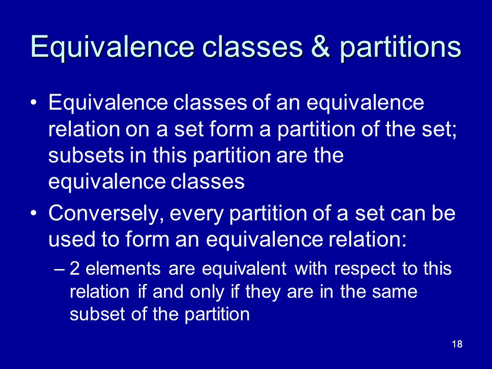Equivalence classes & partitions
