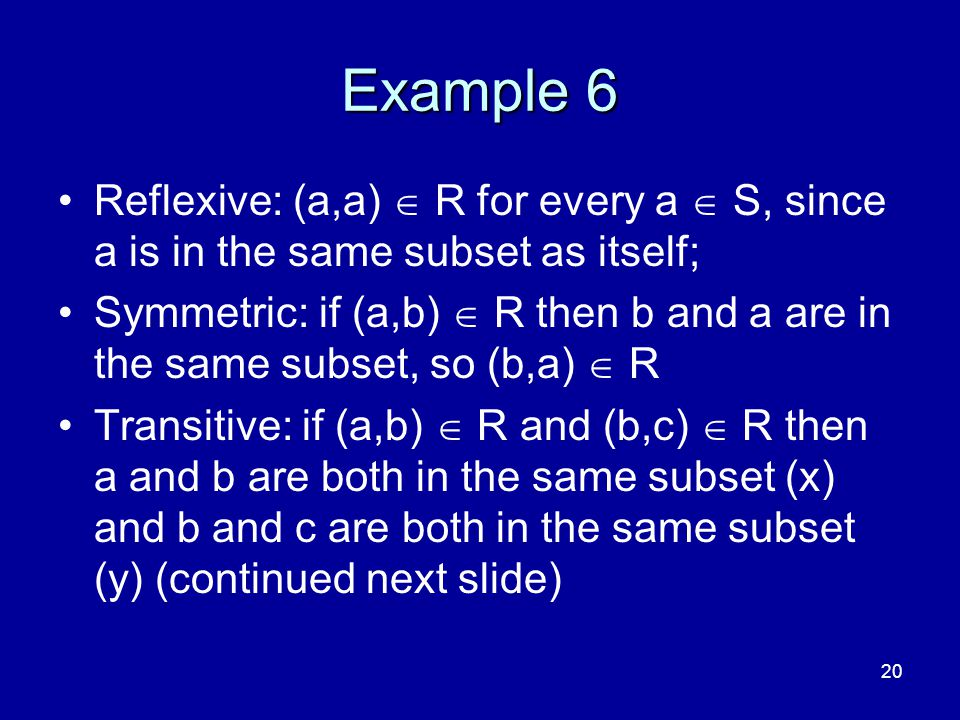 4/10/2017 Example 6. Reflexive: (a,a)  R for every a  S, since a is in the same subset as itself;