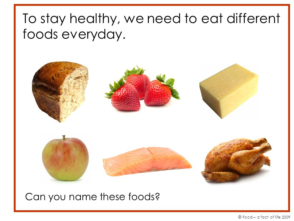 To stay healthy, we need to eat different foods everyday.