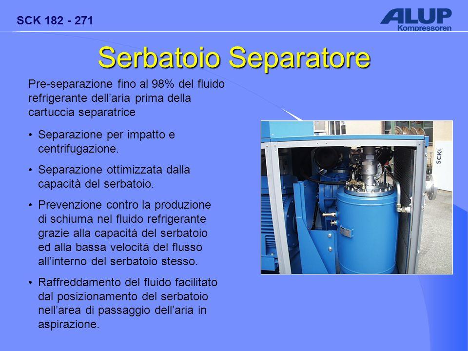 Serbatoio Separatore Pre-separazione fino al 98% del fluido refrigerante dell'aria prima della cartuccia separatrice.