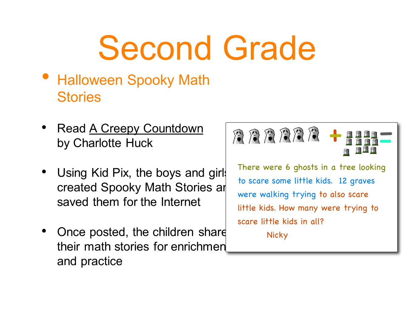 Second Grade Halloween Spooky Math Stories
