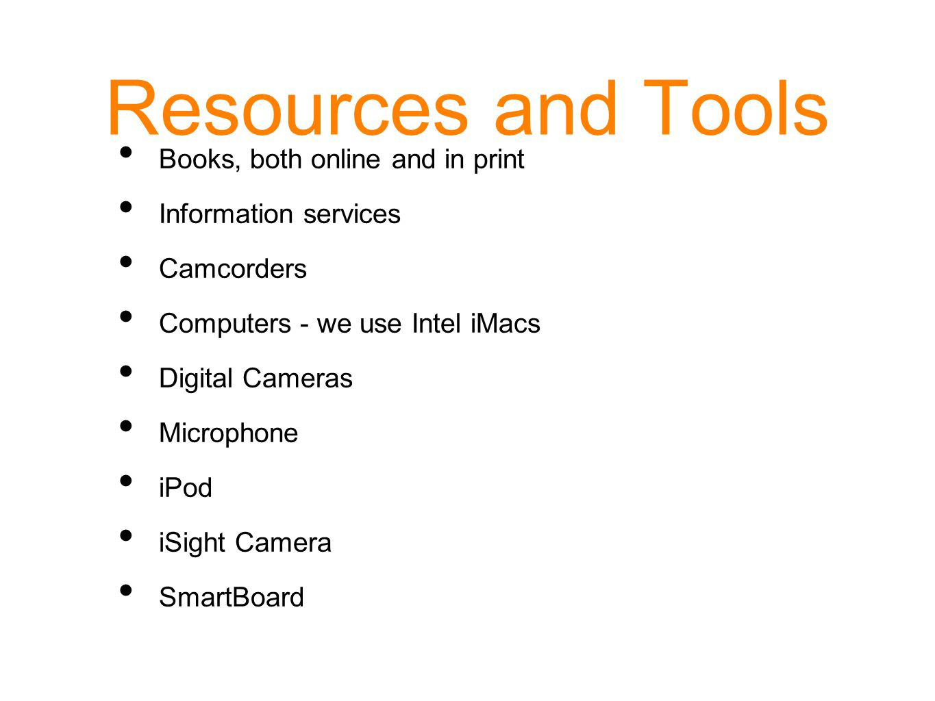 Resources and Tools Books, both online and in print