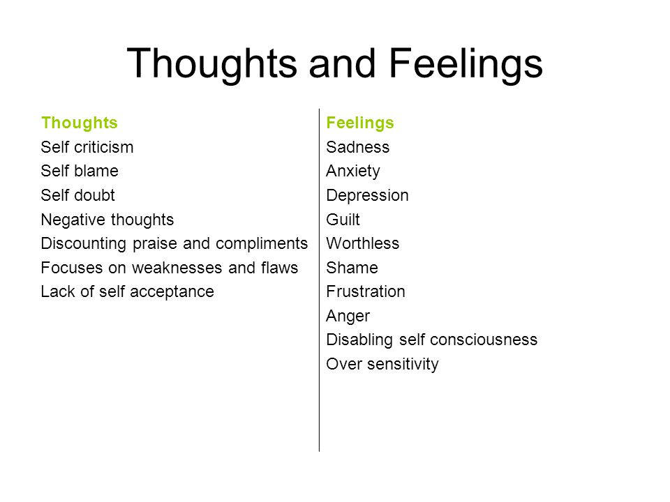 Thoughts and Feelings Thoughts Self criticism Self blame Self doubt