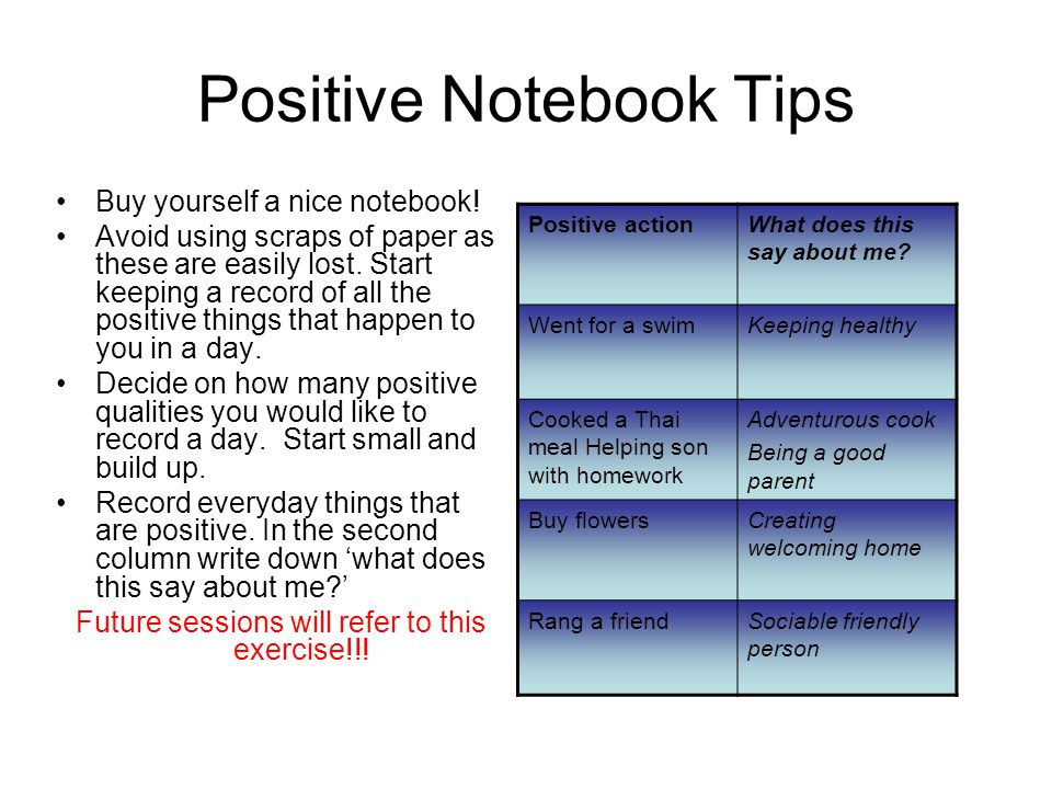Positive Notebook Tips