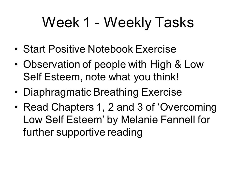 Week 1 - Weekly Tasks Start Positive Notebook Exercise