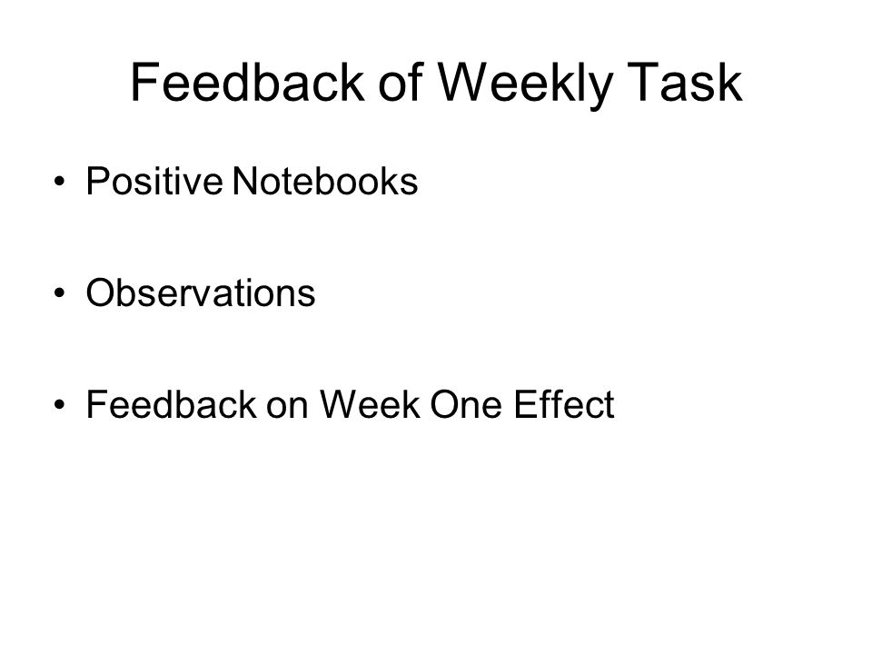 Feedback of Weekly Task