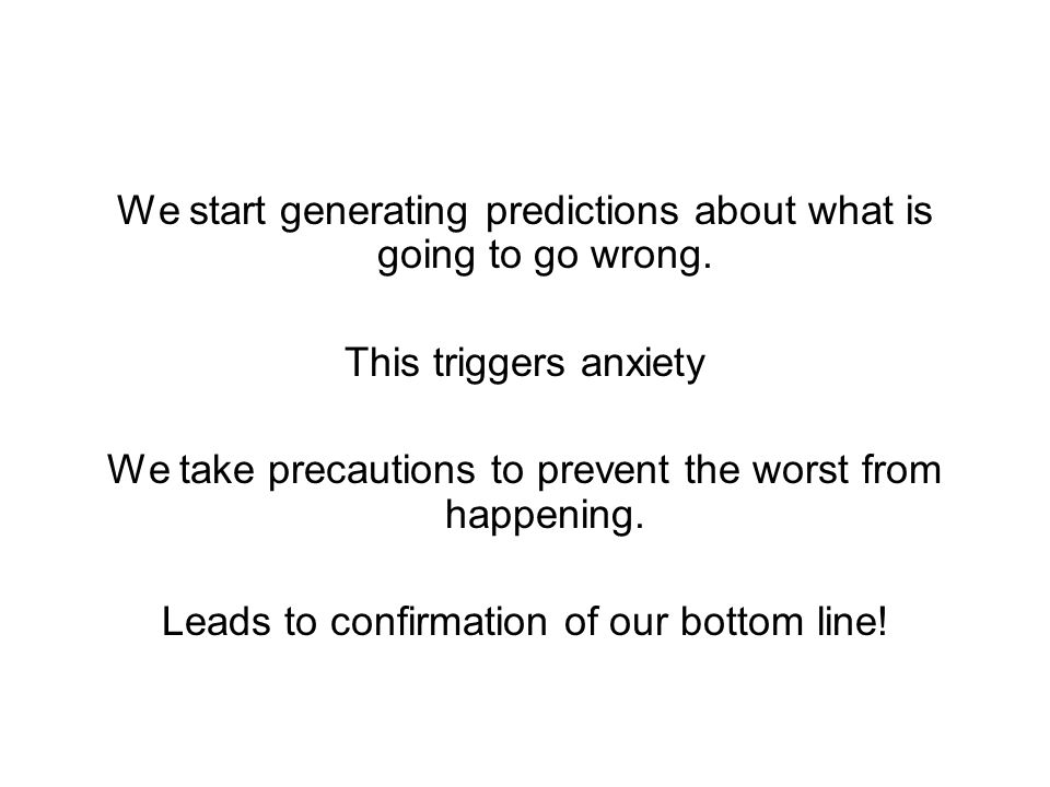 We start generating predictions about what is going to go wrong.