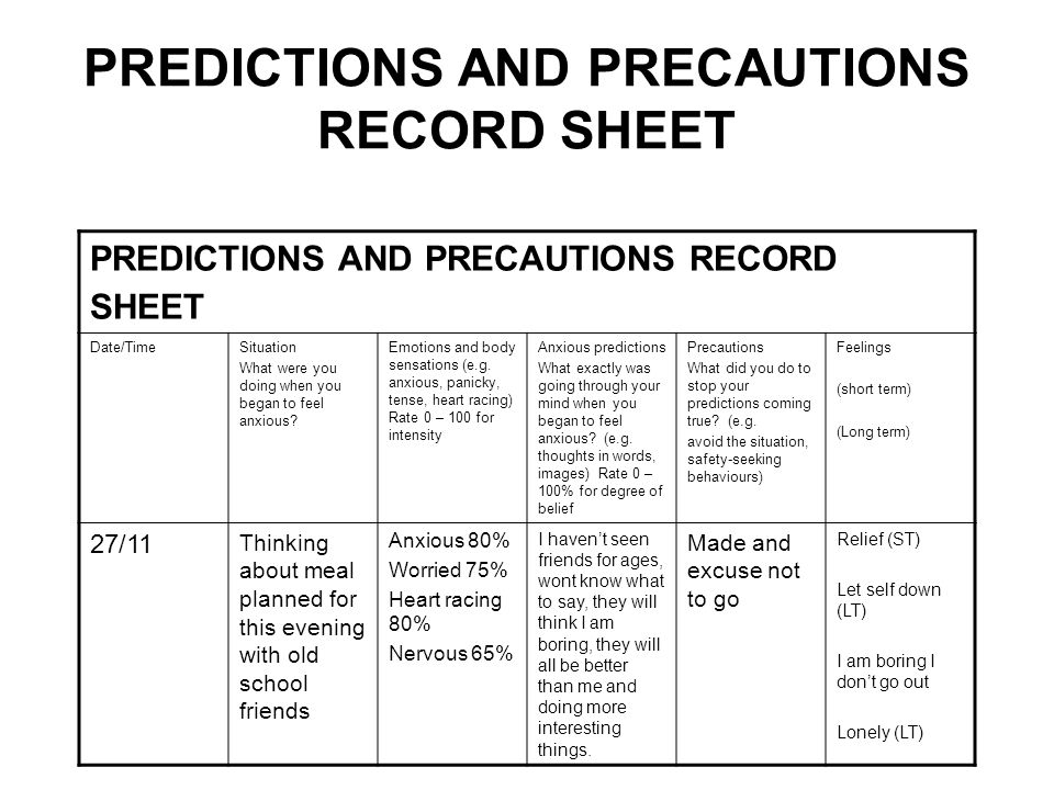 PREDICTIONS AND PRECAUTIONS RECORD SHEET