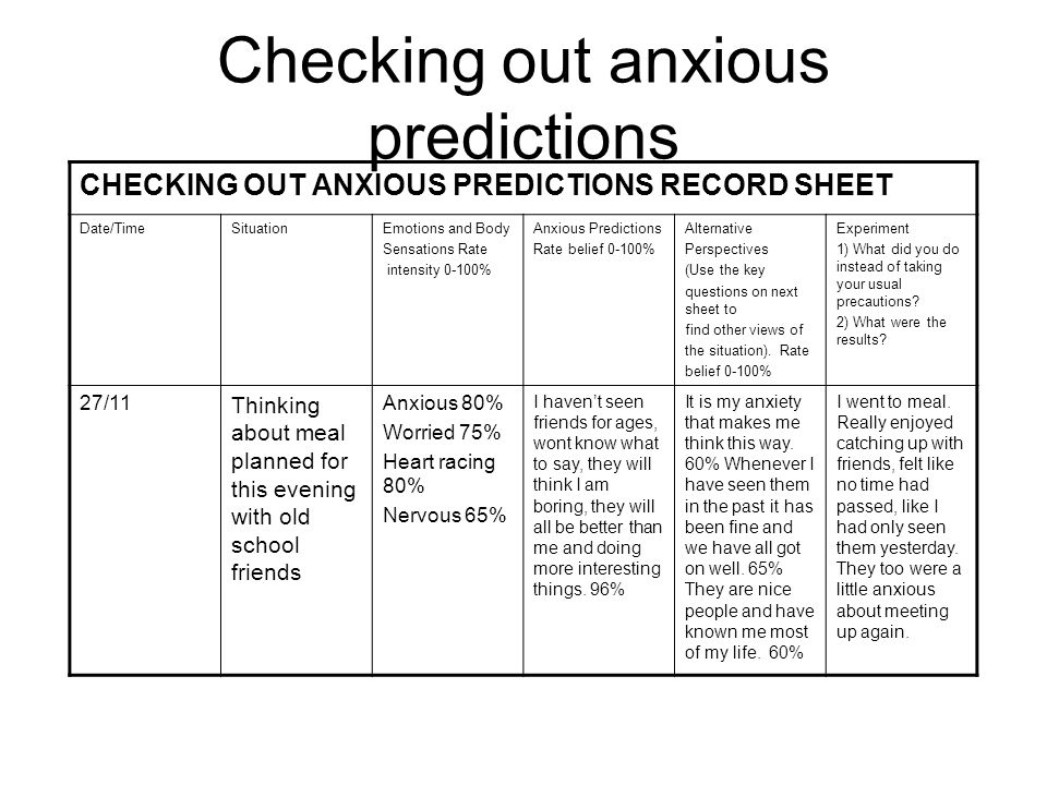Checking out anxious predictions