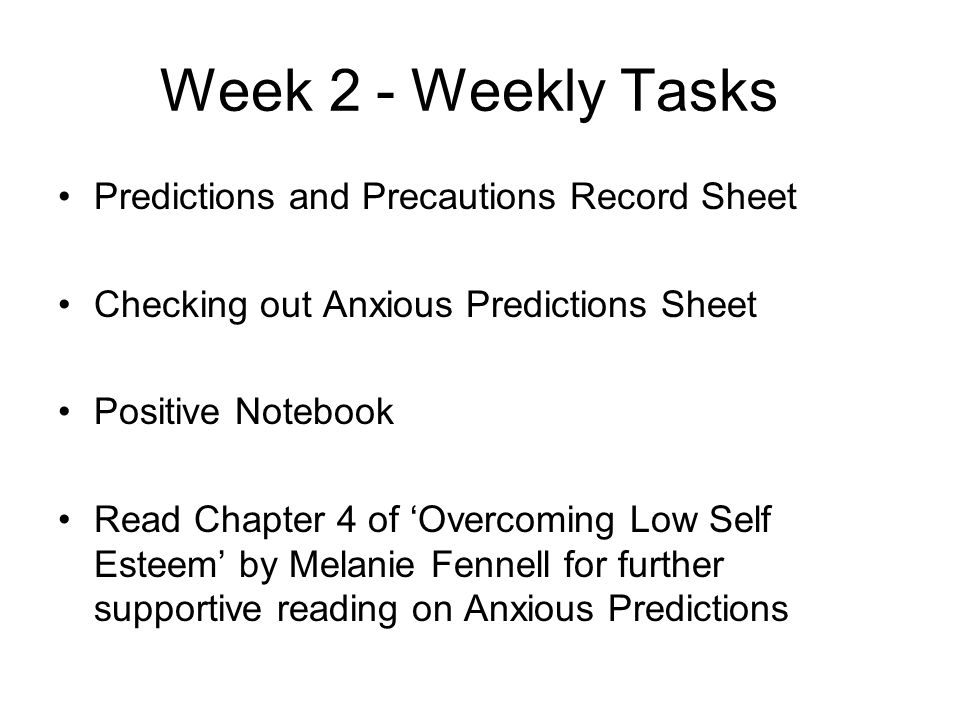 Week 2 - Weekly Tasks Predictions and Precautions Record Sheet