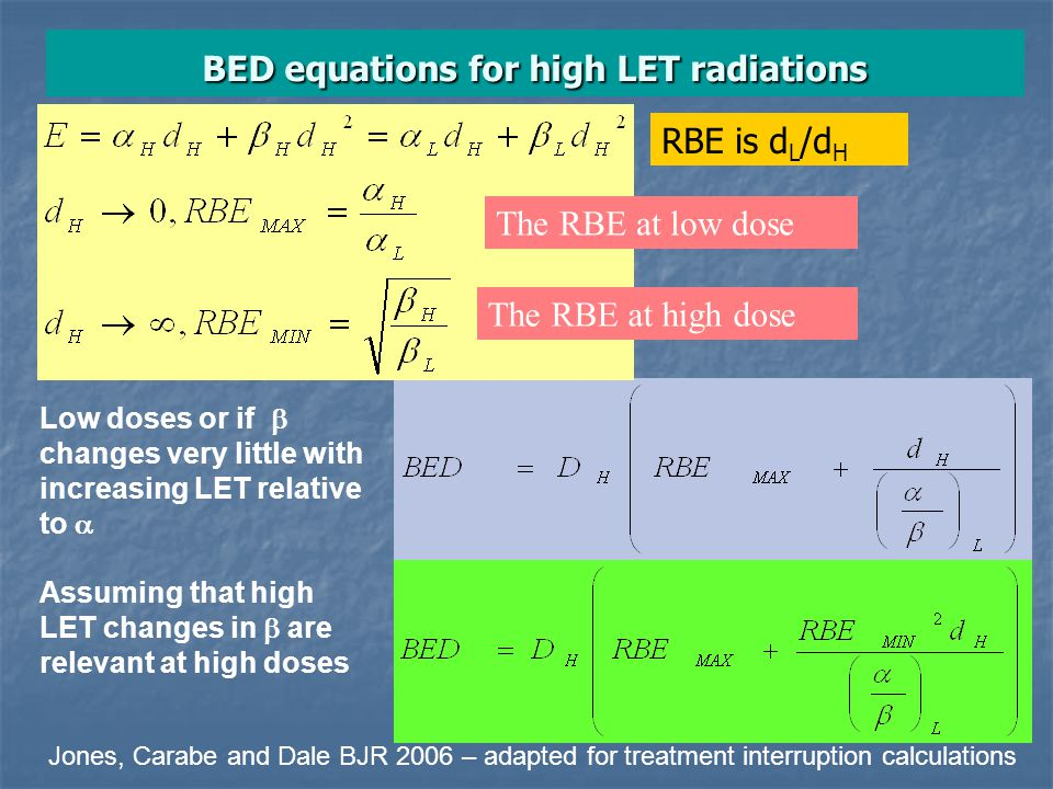BED equations for high LET radiations