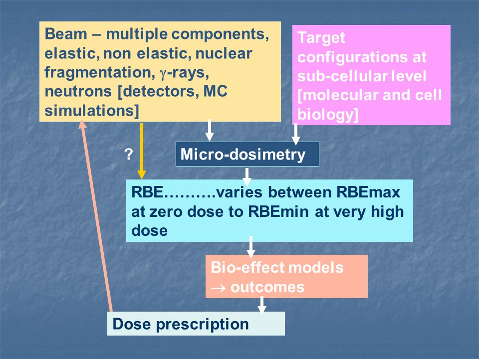 Beam – multiple components, elastic, non elastic, nuclear fragmentation, -rays, neutrons [detectors, MC simulations]