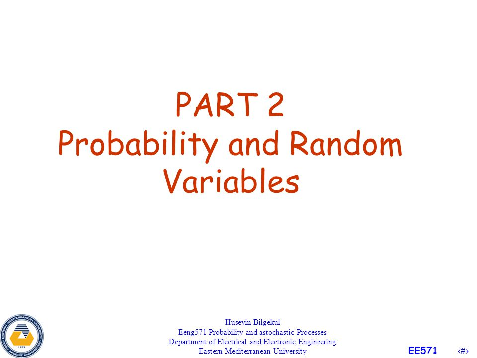 PART 2 Probability and Random Variables