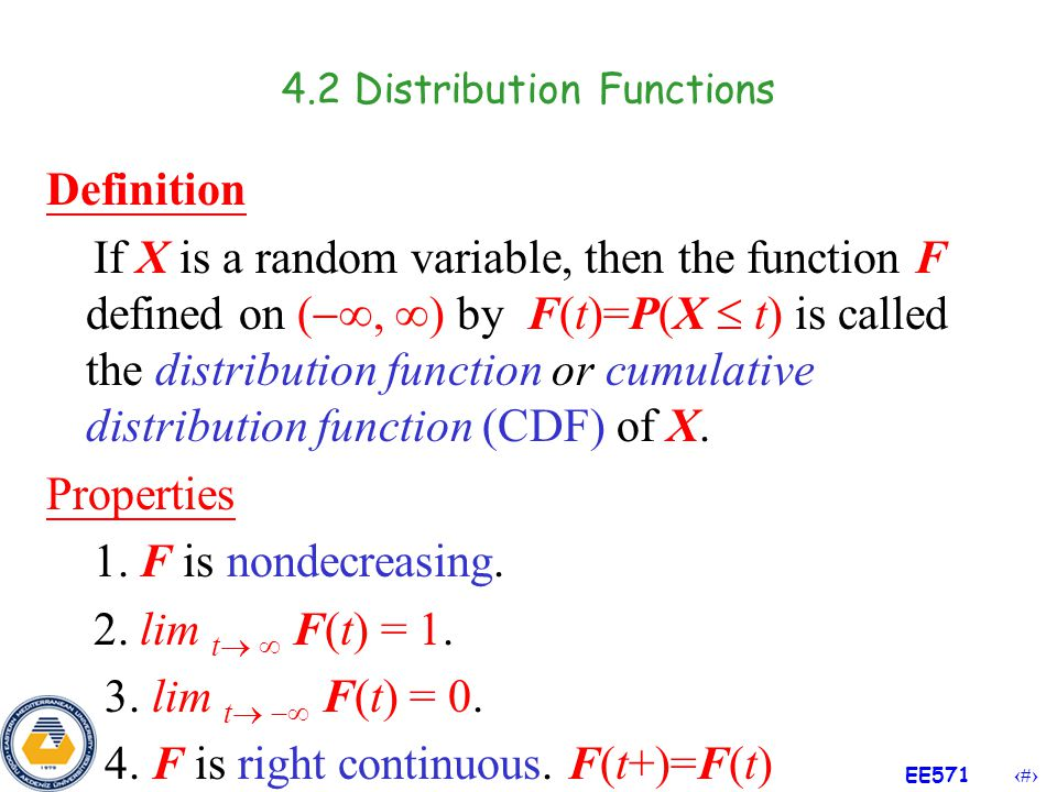 4.2 Distribution Functions